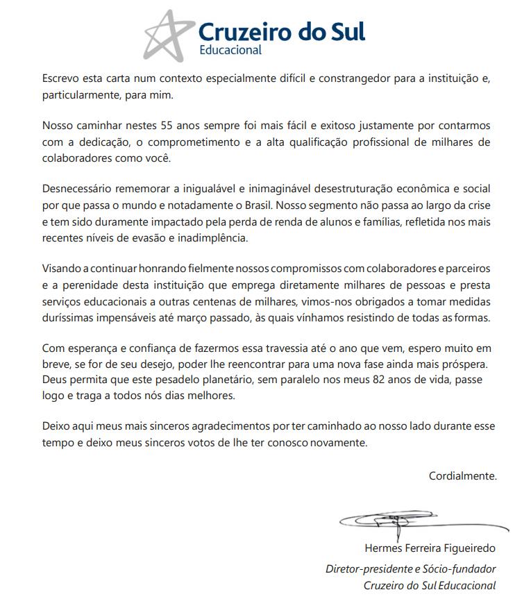 Carta enviada a professores da Universidade Cruzeiro do Sul