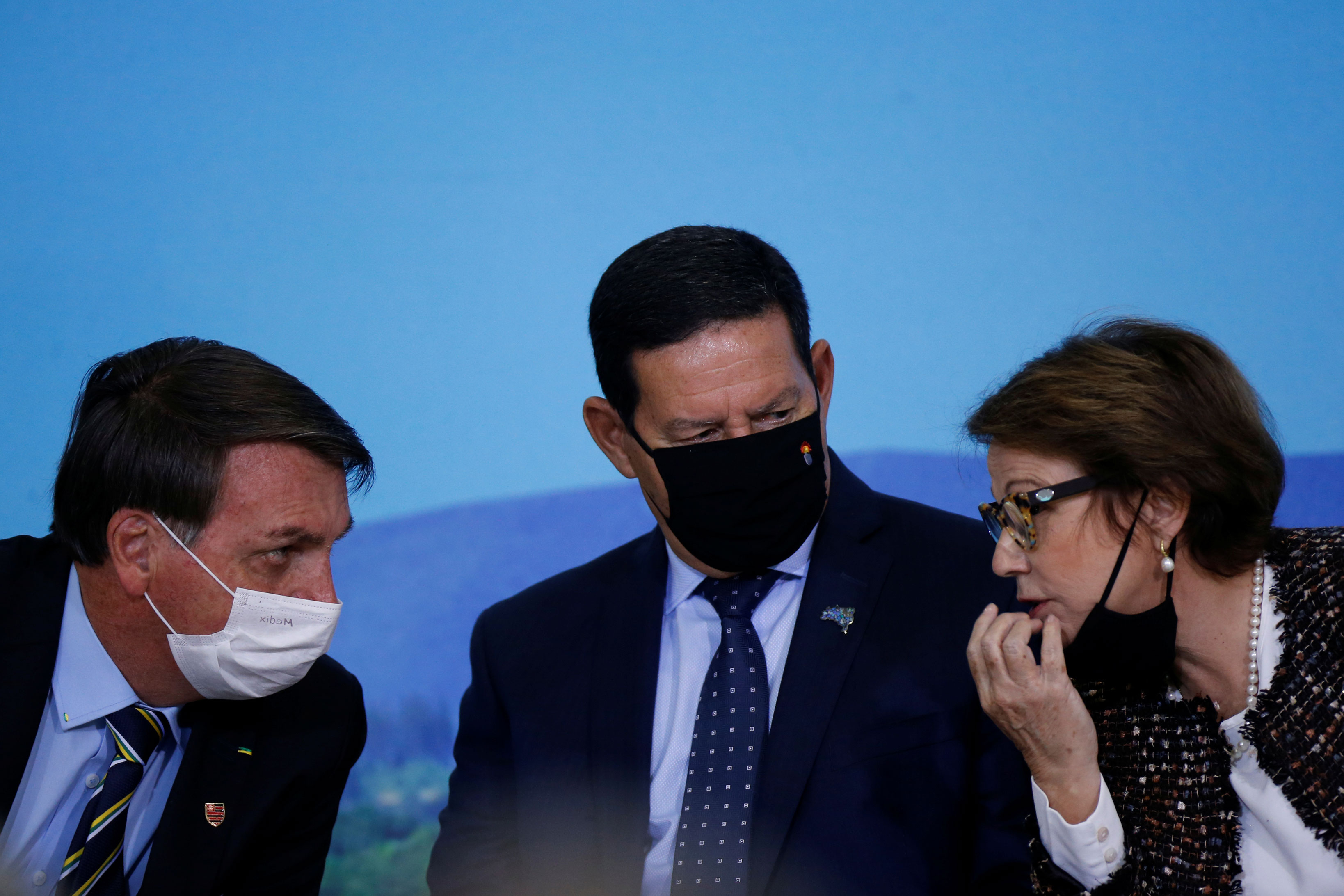 Jair Bolsonaro, Hamilton Mourão e Tereza Cristina