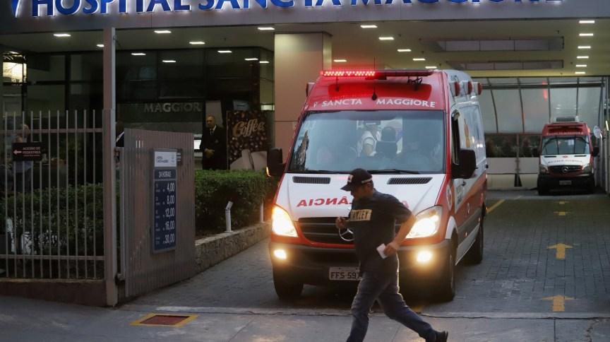 Entrada do hospital Sancta Maggiore, em São Paulo, onde morreram pacientes com o novo coronavírus