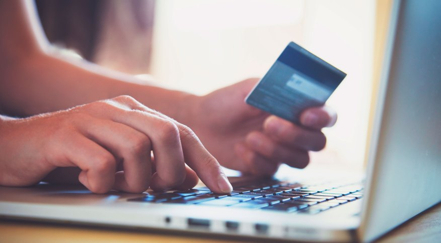Pessoa preenche dados do cartão em computador: PIX é uma das prioridades do BC