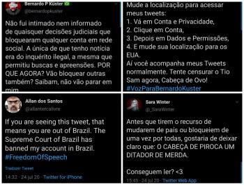 Sara Winter, Allan dos Santos, Bernardo Küster e Otávio Fakhoury usaram suas contas no Twitter mesmo após ação da rede social para restringir seus acessos