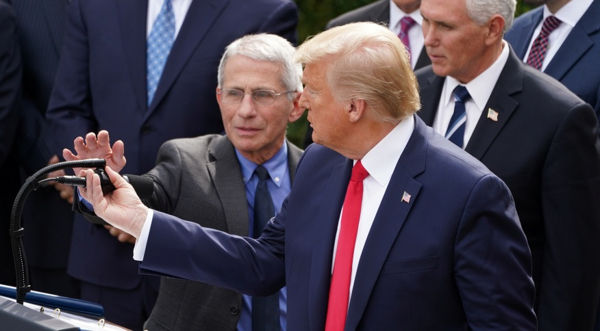 O presidente dos Estados Unidos, Donald Trump, em pronunciamento na Casa Branca sobre o coronavírus