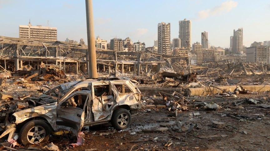 Destruição causada por explosão em Beirute, no Líbano