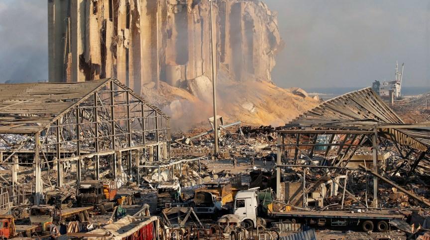 Danos causados por explosão na área portuária de Beirute, no Líbano
