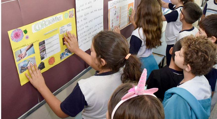 Escolas desenvolvem atividades para a orientar crianças sobre prevenção contra o coronavírus