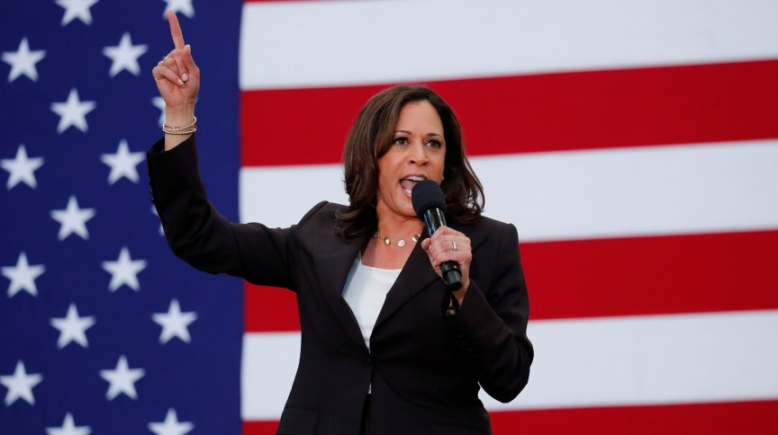A senadora Kamala Harris, escolhida para ser candidata a vice na chapa de Joe Biden