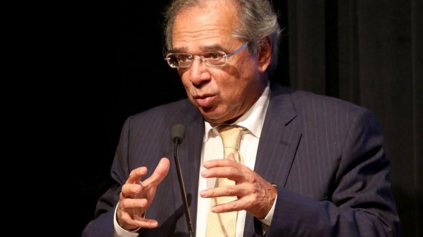 O ministro da Economia, Paulo Guedes, durante palestra no Distrito Federal