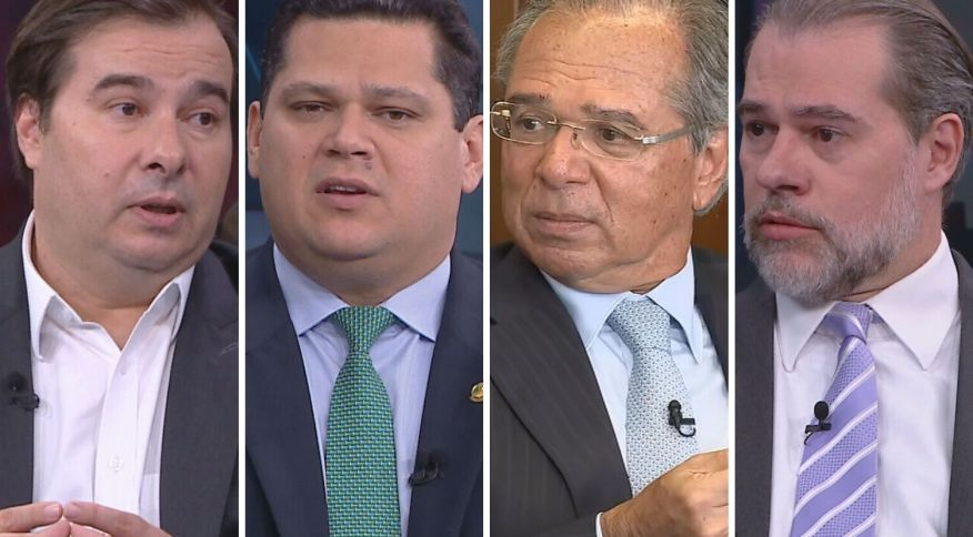 Exclusivo na CNN Brasil: o deputado Rodrigo Maia, presidente da Câmara; o senador Davi Alcolumbre, presidente do Senado, o ministro da Economia Paulo Guedes; o ministro Dias Toffoli, presidente do STF