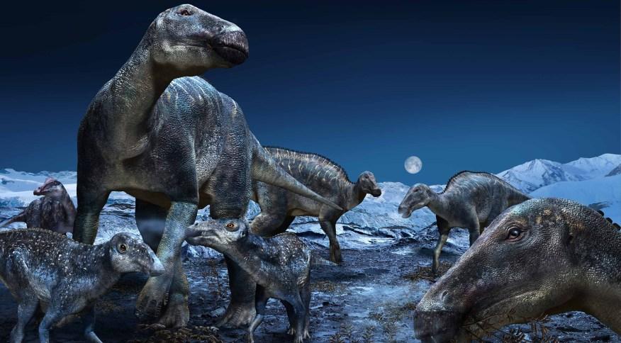 Ilustração do hadrossauro, um dos maiores dinossauros a caminhar pela Terra