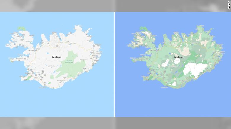 A visualização atualizada do Google Maps é vista à direita