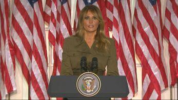 Nesta terça-feira (25), ela encerrou a segunda noite do evento que formalizou a candidatura de seu marido, Donald Trump, à reeleição
