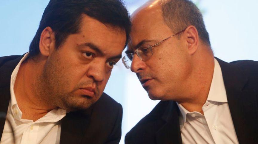 Wilson Witzel e Cláudio Castro em entrevista coletiva no Rio de Janeiro