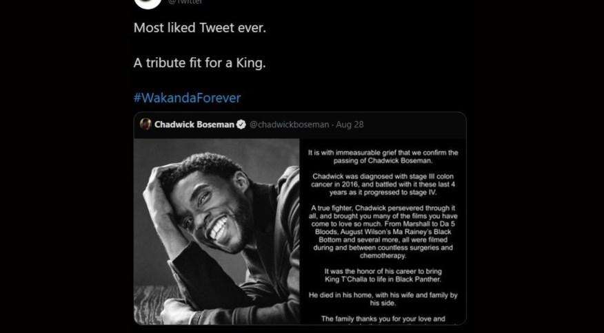 Twitter confirmou que o tuíte de Chadwick Boseman é o mais curtido de todos os tempos