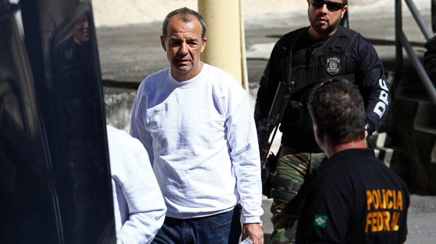 O ex-governador Sérgio Cabral após prestar depoimento em 2017