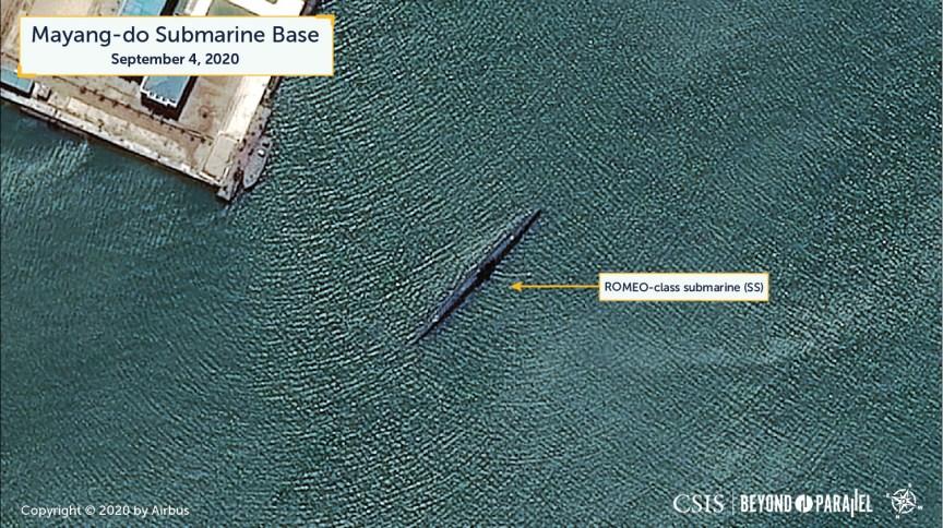 Foto mostra submarino próximo à costa da Coreia do Norte