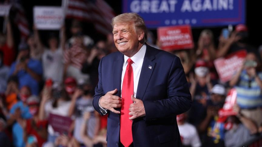 Donald Trump, presidente dos EUA, durante comício na Carolina do Norte