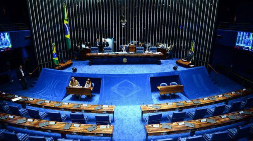 Plenário do Senado, em Brasília, que, em meio a COVID-19, está fazendo votações à distância