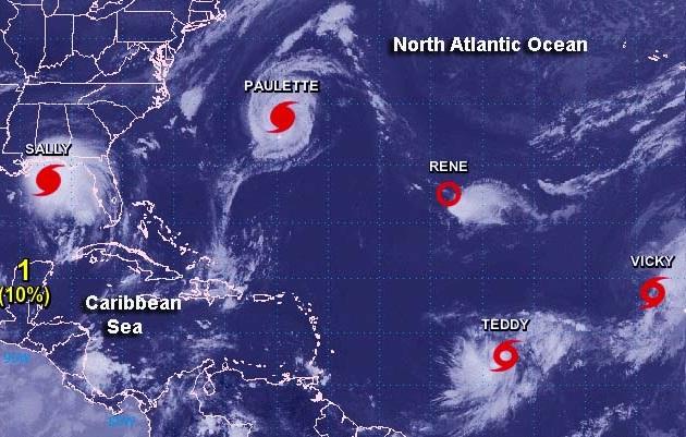 Imagem da Nasa mostra a formação dos cinco fenômenos no Oceano Atlântico