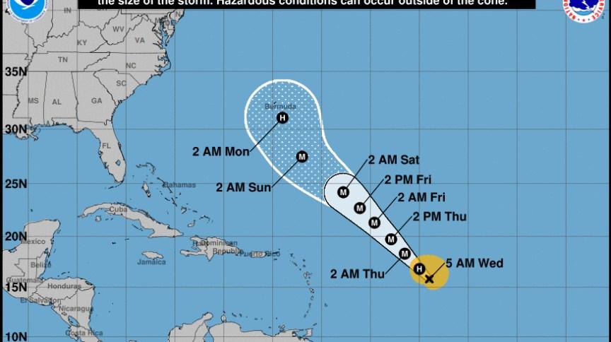 Projeção do Centro Nacional de Furacões dos EUA para o furacão Teddy