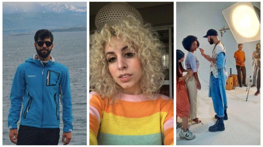O produtor Matheus Cavalcanti, a cabeleireira Bianca Hulmann e o maquiador Patrick Pontes: menos trabalho durante a crise do coronavírus