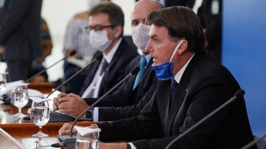 O presidente Jair Bolsonaro, durante coletiva no Palácio do Planalto sobre a pandemia do coronavírus