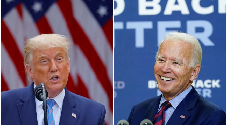 Os candidatos republicano, Donald Trump, e democrata, Joe Biden, à presidência dos EUA