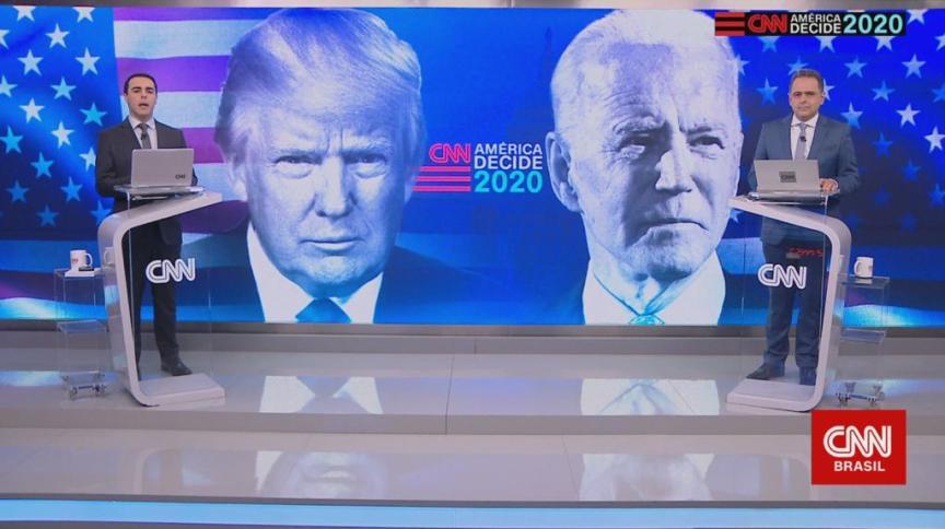 CNN transmitiu primeiro debate entre Trump e Biden. No estúdio, o apresentador Rafael Colombo (à esq.) e o analista Lourival Sant'Anna (à dir.)