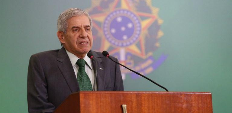 O ministro do Gabinete de Segurança Institucional (GSI), general Augusto Heleno, no Palácio do Planalto