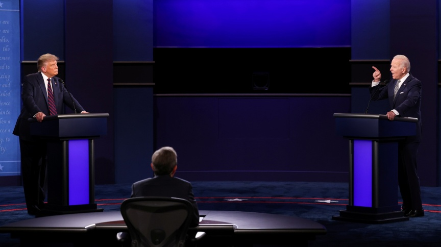 Trump e Biden ficaram a 3,8 metros de distância um do outro no primeiro debate entre candidatos à presidência