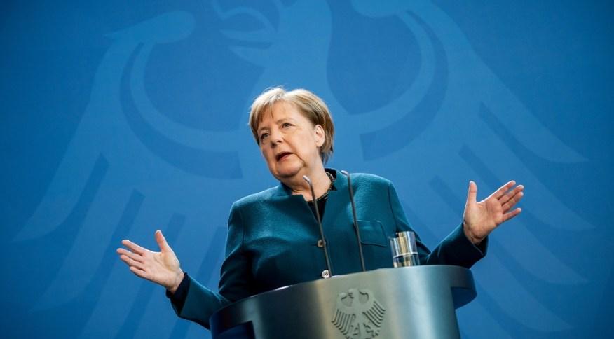 Angela Merkel, chanceler da Alemanha, em entrevista coletiva falando dos efeitos do coronavírus (22.mar.2020)