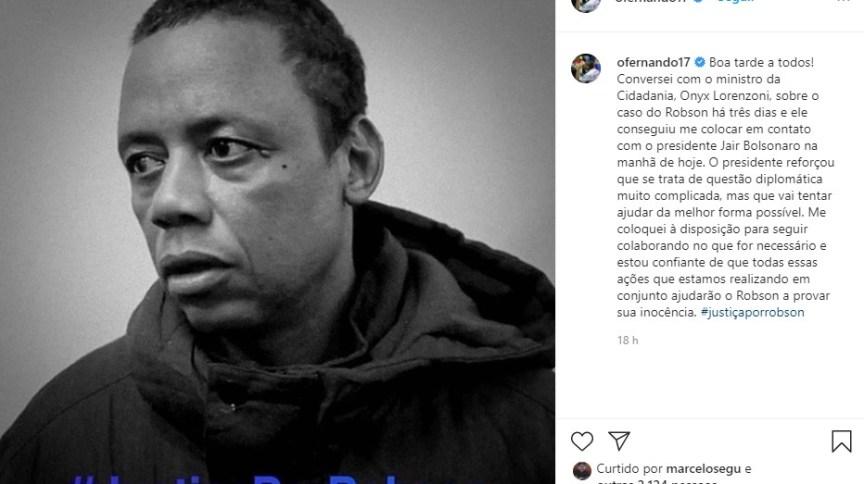 O jogador brasileiro Fernando Lucas Martins disse que conversou com o presidente Jair Bolsonaro sobre a prisão do motorista Robson Oliveira, na Rússia