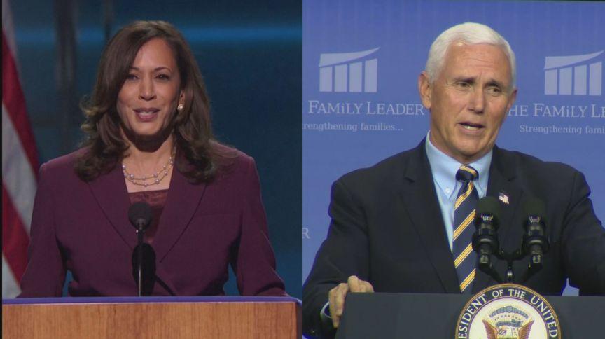 A democrata Kamala Harris e o republicano Mike Pence