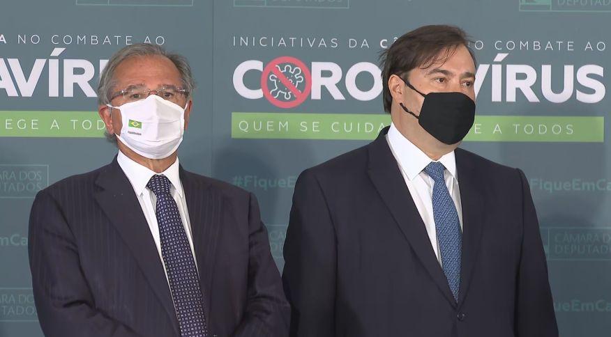 O ministro da Economia, Paulo Guedes, e o presidente da Câmara, Rodrigo Maia (DEM-RJ)