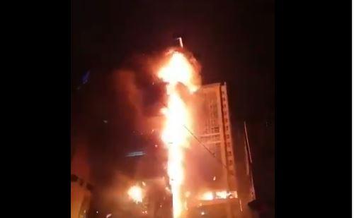 Imagens nas redes sociais mostram incêndio de edifício em Ulsan