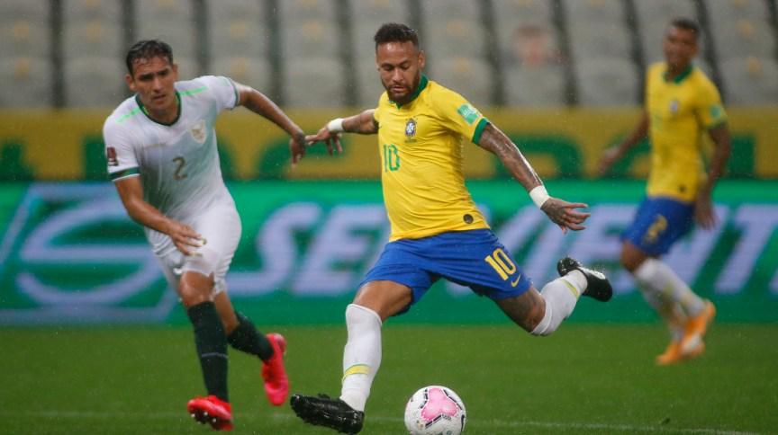 Atacante Neymar, da Seleção Brasileira, durante jogo contra Bolívia