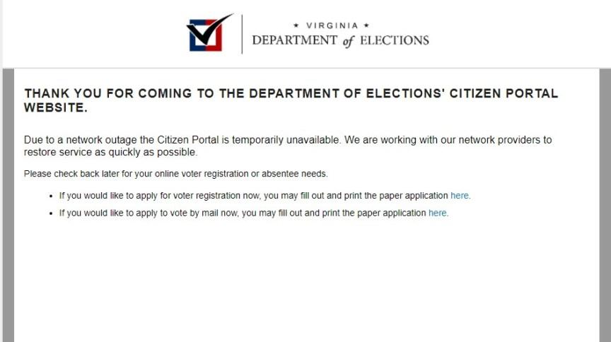 Sistema da Justiça eleitoral no estado da Virgínia, nos EUA, apresenta falha nesta terça-feira (13), último dia para regularização da situação eleitoral