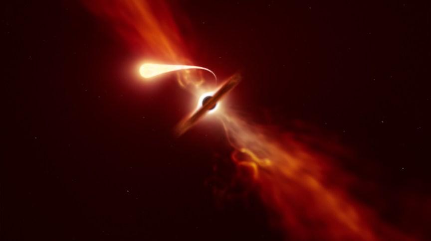 Concepção artística de uma estrela sendo desfeita por forças de maré exercidas por um buraco negro supermassivo