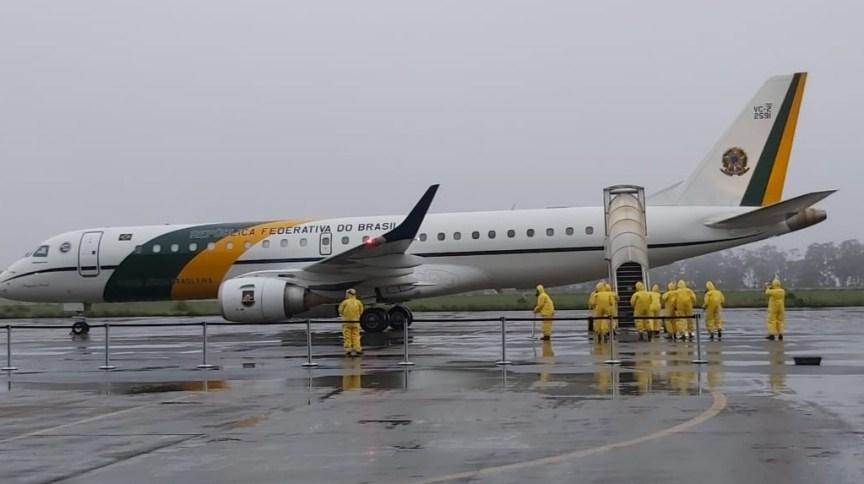 Avião da Força Aérea Brasileira (FAB) que resgatou brasileiros que estavam isolados em Wuhan, na China, em fevereiro
