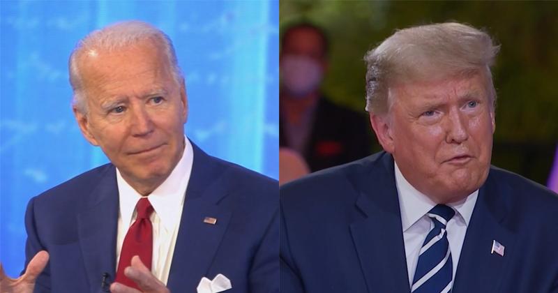 Joe Biden e Donald Trump em sabatinas