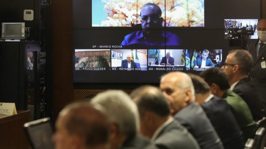 Videoconferência de Bolsonaro com governadores do Centro-Oeste (24.mar.2020)