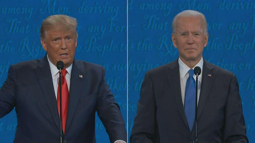 Donald Trump e Joe Biden durante o último debate antes da eleição presidencial dos Estados Unidos