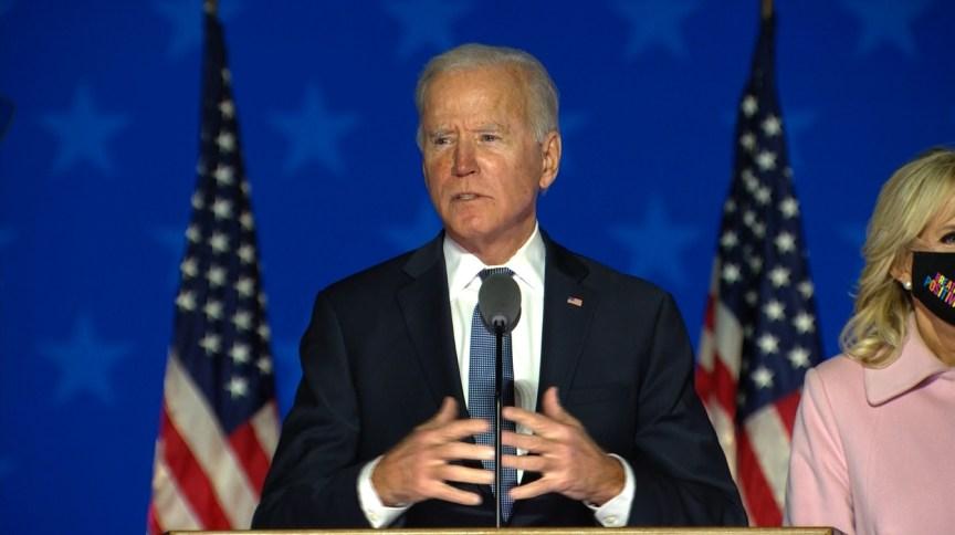 Joe Biden fala em Delaware sobre confiança na vitória nas eleições americanas