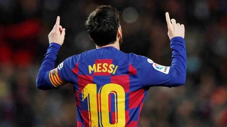 Messi comemora gol em jogo do Barcelona contra o Real Sociedad