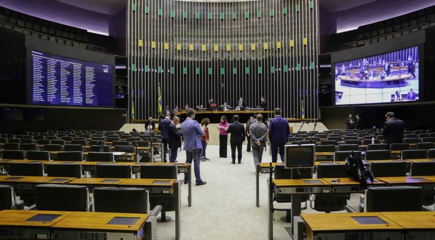 Câmara dos Deputados durante a sessão remota
