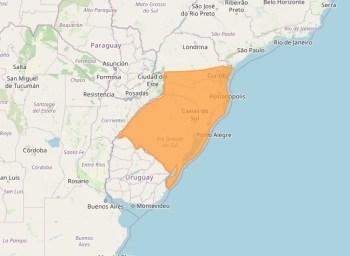 Instituto Nacional de Meteorologia alerta para chuvas que podem variar entre 30 e 100 milímetros no Rio Grande do Sul, Santa Catarina e parte do Paraná
