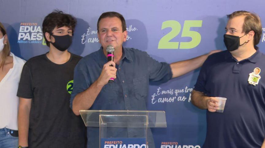 Eleito neste domingo (29), Eduardo Paes (DEM) discursa após resultado da eleição