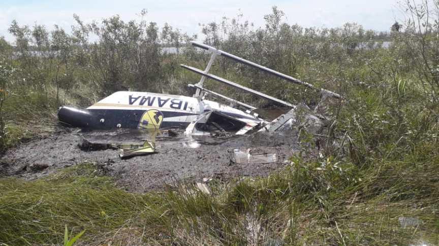 Helicóptero do Ibama era usado em operação de combate ao fogo no Pantanal