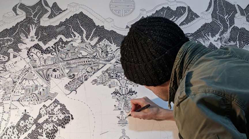 O artista britânico Gareth Fuller transformou quarentena em exercício criativo