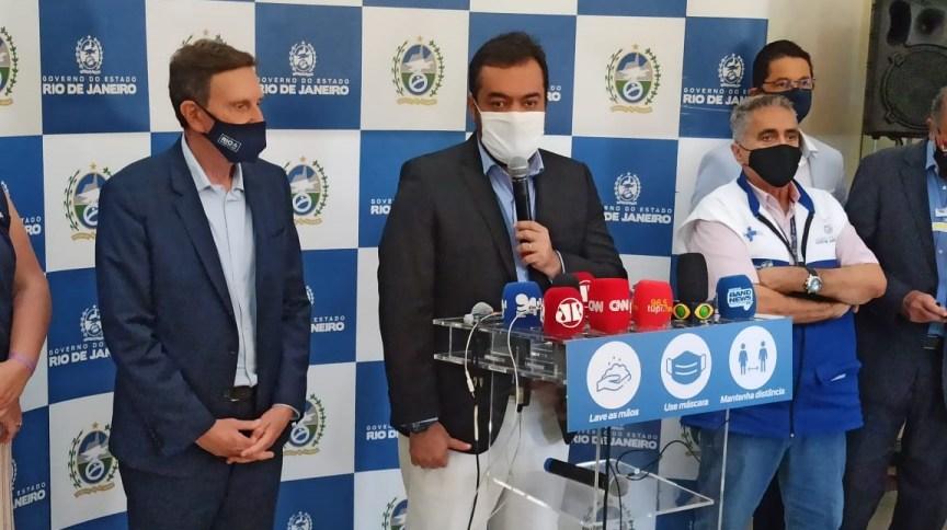 O prefeito do Rio, Marcelo Crivella, e o governador em exercício, Claudio Castro
