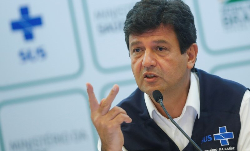 Ministro da Saúde, Luiz Henrique Mandetta, durante entrevista coletiva em Brasília